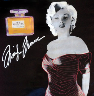 Marilyn Chanel #5 Black Signature Model Unique 2000 46x46 Original Painting - Steve Kaufman