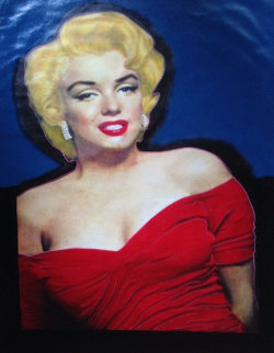 Marilyn Elegant Red Dress Unique 2002 48x35  Original Painting - Steve Kaufman