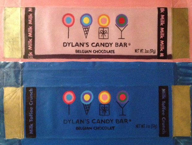 Dylan Candy Bar, Set of 2 Paintings, Pink And Blue Unique 2007