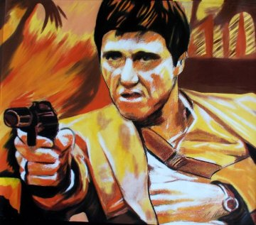 Al Pacino Scarface Gold 2006 Unique 39x46 Works on Paper (not prints) - Steve Kaufman