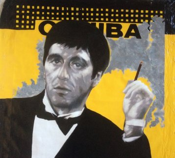 Al Pacino Cohiba Scarface Unique 40x40 Original Painting - Steve Kaufman