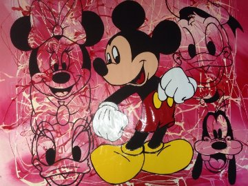 Disney Mickey Mouse Red Jackson Pollock Unique 2000 37x45 Original Painting - Steve Kaufman