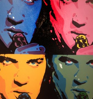 Elvis Quad Unique 1995 40x40 Original Painting - Steve Kaufman