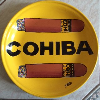 Cohiba Cigars Ceramic Plate Unique Original Painting - Steve Kaufman