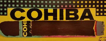Cohiba, Great Cigar Shop  Embellished  Unique 10x25 Original Painting - Steve Kaufman