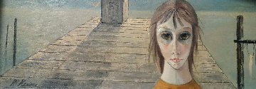 Untitled (Girl On Pier) 10x24 (Big Eyes) early 1970 Original Painting - Margaret D. H. Keane