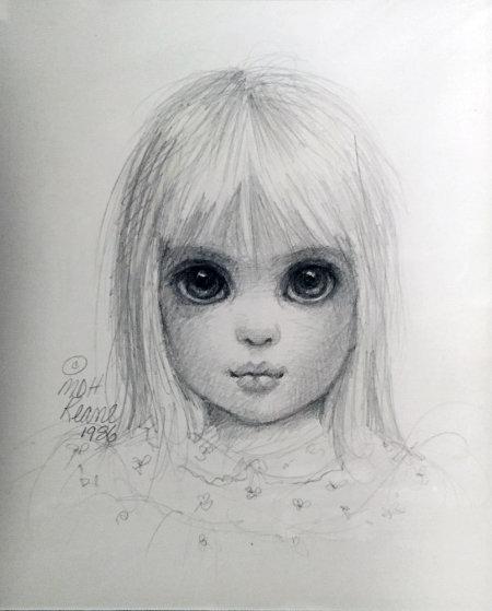 little blondie drawing 1986 15x17 big eyes by margaret d h keane