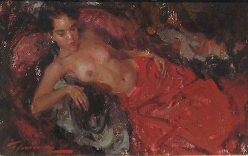 Nude in Red 1993 19x15 Original Painting - Ramon Kelley