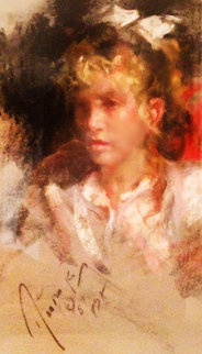Untitled (Portrait of a Girl) 1987 26x19 Original Painting - Ramon Kelley
