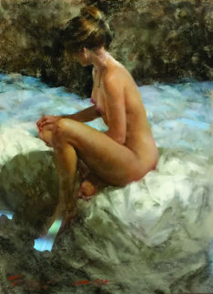 Shadows of Blue and Gold Nude 1984 30x35 Original Painting - Ramon Kelley