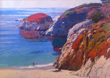 Bather At China Cove - Point Lobos, San Diego 38x48 Original Painting - Mark Kerckhoff