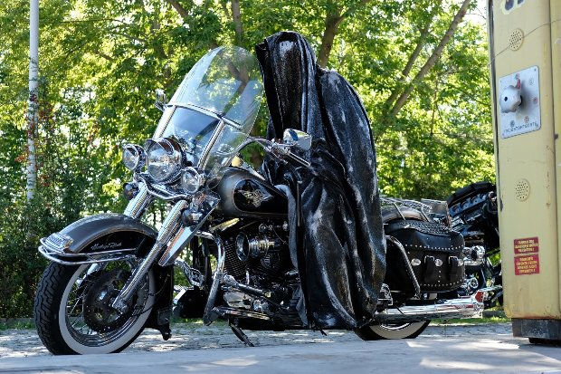 Bike Guardian Rider - Time Traveler Polyester Sculpture 2017 63 in
