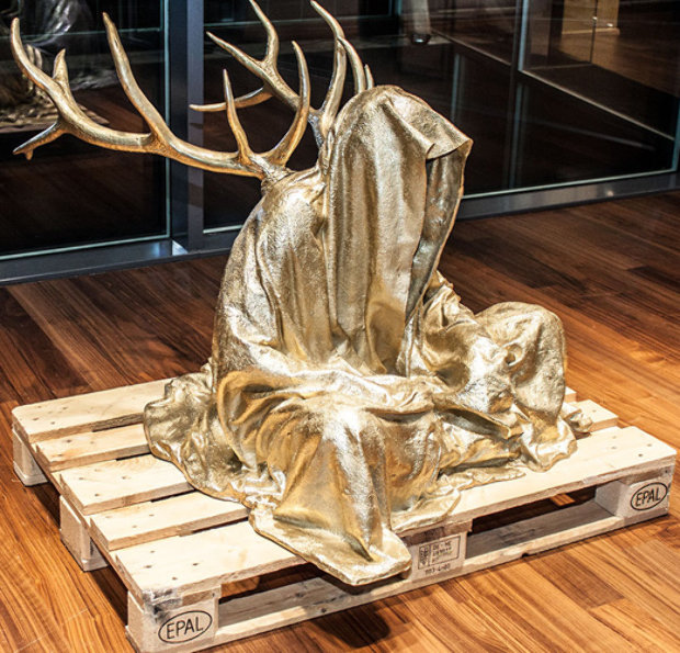Guardians of Time with Antlers Bronze Sculpture 2014