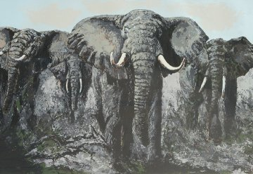 Elephant Stand 1972  60x72 Original Painting - Mark King
