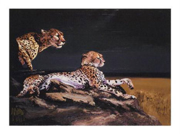 Pair of Cheetahs AP 2009 Embellished Limited Edition Print - Mark King