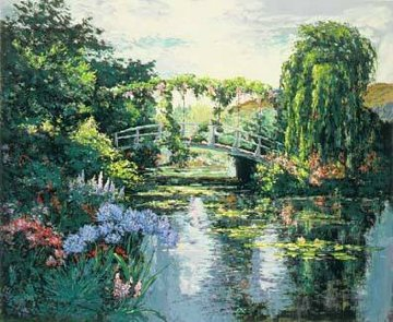 Giverney Wisteria Agapanthes Bridge 1991 Limited Edition Print - Mark King