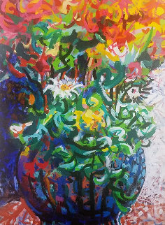 Untitled (Flowers in a Vase) 1995 23x18 Original Painting - Richard Klix