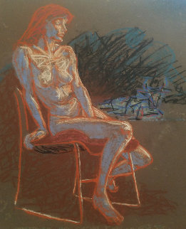 Untitled (Nude Woman on a Chair) Pastel  1996 19x19 Original Painting - Richard Klix