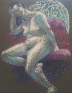 Untitled (Nude Woman With Hand on Her Head) Pastel 1997 15x12 Original Painting - Richard Klix