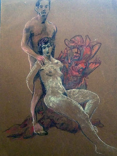 Untitled (Nude Man And Woman) Pastel 1995 19x13 Original Painting - Richard Klix