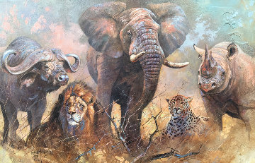 Big 5 1999 64x44 Original Painting - Kobus Moller