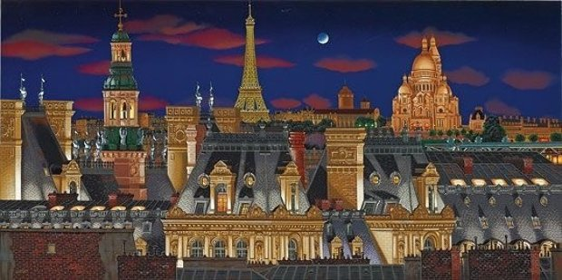 Rooftops of Paris At Night 2005  on Panel