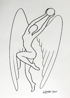 Pearl of Wisdom Drawing 2000 18x13 Drawing - Mark Kostabi