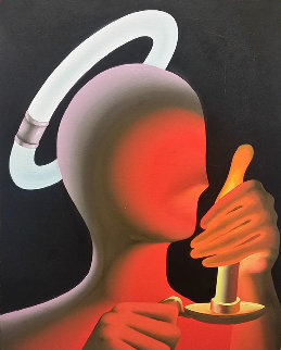 Cool Halo / Hot Candle 1992 30x23 Original Painting - Mark Kostabi
