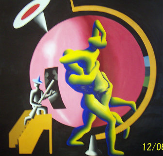 All The Worlds as Hostage 1986 84x84 Original Painting - Mark Kostabi