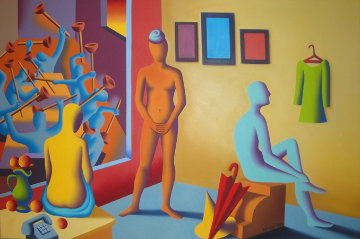 Three Graces 40x60 Original Painting - Mark Kostabi