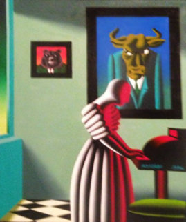 Untitled, Wall Street Bull and Bear 1996 35x29 Original Painting - Mark Kostabi