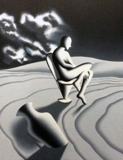 Riddle of Night And Day 1999 42x32 Original Painting - Mark Kostabi