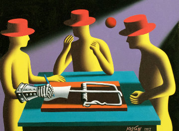 Art of the Deal (Nimzo Indian Defense) 1993 22x28 Original Painting - Mark Kostabi