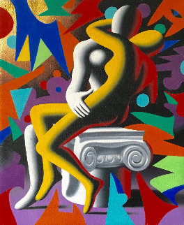Page Six Column 2011 12x10 Original Painting - Mark Kostabi