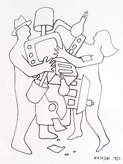 Study For Materialism II 1982 Drawing - Mark Kostabi