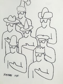 Analysis of Meaning Drawing 1984 11x14  Drawing - Mark Kostabi