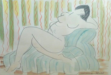Nude Lady Reclining Watercolor 1987 26x33 Watercolor - Muramasa Kudo