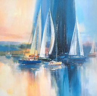 Afternoon Sail 42x42 Original Painting - Wilfred Lang