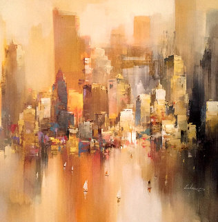 New York City 41x41 Original Painting - Wilfred Lang