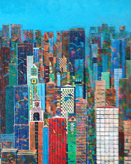 New York Fifth Avenue 2000 37x32 Original Painting - Jean-Francois Larrieu