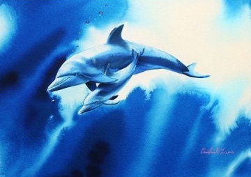 Endearing Love Watercolor  2000 28x34 Watercolor - Christian Riese Lassen