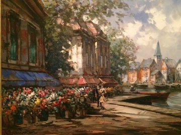 Flower Market 1990 34x44 Original Painting - Pierre Latour