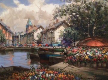 Bountiful Flowers 1996 53x43 Original Painting - Pierre Latour