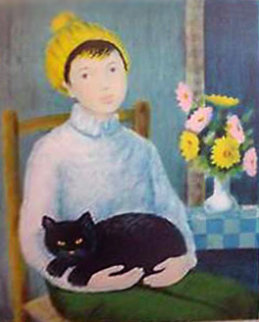 Woman With Cat 1950 Limited Edition Print - Angelina Lavernia