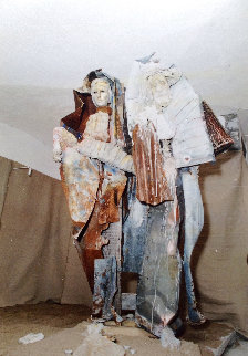 Mary And Joseph Metal and Wood Sculpture 2004 Sculpture - Lewon Lazarew