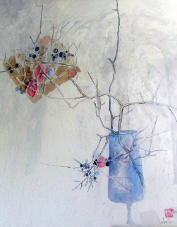 Branches in Blue Watercolor 1983 48x40 Watercolor -  Lebadang