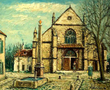 Old Gothic Church in France 1972 29x33 Original Painting - Alois Lecoque