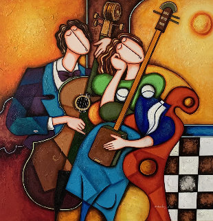 Untitled (Musicians) 58x58 Original Painting - Charles Lee