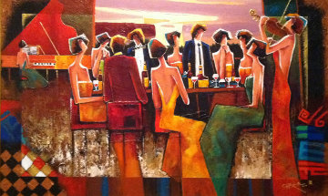 Gathering At the Club 2007 30x48 Original Painting - Charles Lee