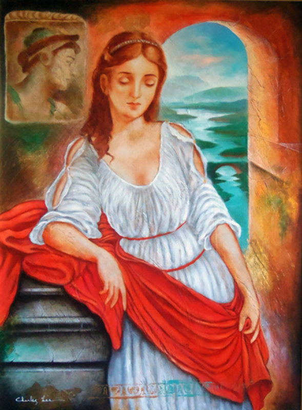 Untitled Portrait of a Young Woman With Red Sash 46x37